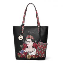 F1200 AUTHENTIC FRIDA KAHLO FLORAL BOUNTY TALL TOTE BAG~BLACK