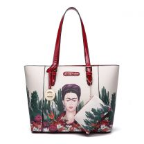 FC910 Authentic Frida Kahlo Cactus Series 2-in-1 Shopper Tote Red