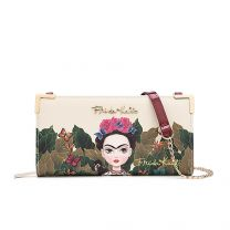FJC928 Authentic Frida Kahlo Cartoon Series Zipper Wallet w/Strap Red