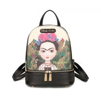 FJC930 AUTHENTIC FRIDA KAHLO CARTOON SERIES SMALL BACKPACK BLACK