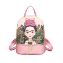 FJC930 AUTHENTIC FRIDA KAHLO CARTOON SERIES SMALL BACKPACK PINK