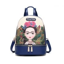 FJC930 AUTHENTIC FRIDA KAHLO CARTOON SERIES SMALL BACKPACK NAVY