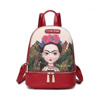 FJC930 AUTHENTIC FRIDA KAHLO CARTOON SERIES SMALL BACKPACK RED