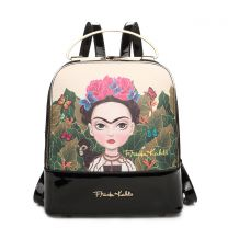 FJC931 AUTHENTIC FRIDA KAHLO CARTOON SERIES CUTE BACKPACK w/METAL HANDLE BLACK