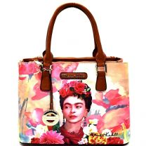 FK905 Authentic Frida Kahlo with Parrot in Flowers 3 compartment Satchel