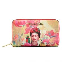 FK929 Authentic Frida Kahlo with Parrot in Flowers Double Zipper Wristlet Wallet