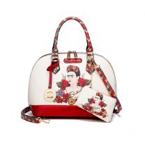 FL902 AUTHENTIC FRIDA KAHLO FLORAL BOUNTY DOME SATCHEL~RED