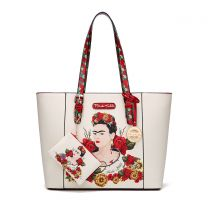 FL910 AUTHENTIC FRIDA KAHLO FLORAL BOUNTY 2-in-1 SHOPPER TOTE~RED