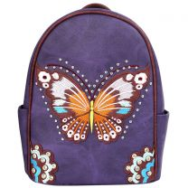 G46W209 CONCEALED CARRY BUTTERFLY EMBROIDERED BACKPACK~PURPLE