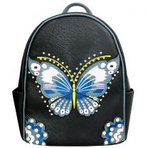 G46W209 CONCEALED CARRY BUTTERFLY EMBROIDERED BACKPACK~BLACK