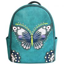 G46W209 CONCEALED CARRY BUTTERFLY EMBROIDERED BACKPACK~TURQUOISE