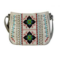G603W160 CONCEALED CARRY WESTERN EMBROIDERED COLLECTION CROSSBODY~BEIGE