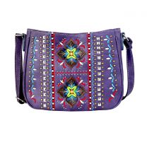 G603W160 CONCEALED CARRY WESTERN EMBROIDERED COLLECTION CROSSBODY~PURPLE