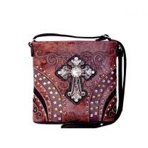 G605W168LCR CONCEALED CARRY WESTERN CROSS CROSSBODY BAG~BROWN