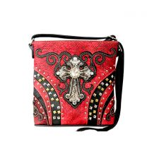 G605W168LCR CONCEALED CARRY WESTERN CROSS CROSSBODY BAG~RED