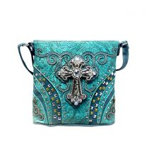 G605W168LCR CONCEALED CARRY WESTERN CROSS CROSSBODY BAG~TURQUOISE