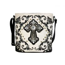 G605W188LCR CONCEALED CARRY WESTERN CROSS EMBROIDERY CROSSBODY BAG~BEIGE