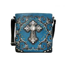 G605W188LCR CONCEALED CARRY WESTERN CROSS EMBROIDERY CROSSBODY BAG~BLUE