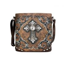 G605W188LCR CONCEALED CARRY WESTERN CROSS EMBROIDERY CROSSBODY BAG~BROWN
