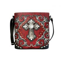 G605W188LCR CONCEALED CARRY WESTERN CROSS EMBROIDERY CROSSBODY BAG~RED