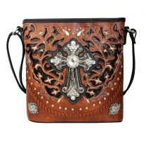 G605W189LCR CONCEALED CARRY WESTERN CROSS CROSSBODY BAG~BROWN