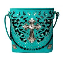 G605W189LCR CONCEALED CARRY WESTERN CROSS CROSSBODY BAG~TURQUOISE
