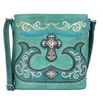 G605W191LCR CONCEALED CARRY WESTERN CROSS EMBROIDERY CROSSBODY MESSENGER BAG TURQUOISE