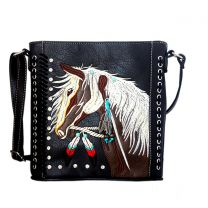 G605W193 Concealed Carry Western Horse Embroidery CROSSBODY MESSENGER BAG BLACK
