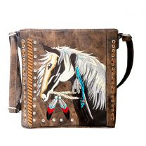 G605W193 Concealed Carry Western Horse Embroidery CROSSBODY MESSENGER BAG BROWN