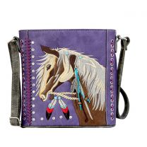 G605W193 Concealed Carry Western Horse Embroidery CROSSBODY MESSENGER BAG PURPLE