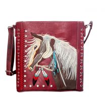 G605W193 Concealed Carry Western Horse Embroidery CROSSBODY MESSENGER BAG RED