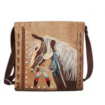 G605W193 Concealed Carry Western Horse Embroidery CROSSBODY MESSENGER BAG TAN