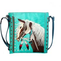 G605W193 Concealed Carry Western Horse Embroidery CROSSBODY MESSENGER BAG TURQUOISE