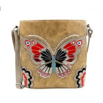 G605W209 CONCEALED CARRY BUTTERFLY EMBROIDERED CROSSBODY BAG~TAN