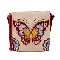 G605W209 CONCEALED CARRY BUTTERFLY EMBROIDERED CROSSBODY BAG~PINK