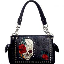 G939SK8 CONCEALED CARRY EMBOSSED SKULL STUDDED SATCHEL~BLACK