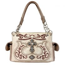 G939W191LCR CONCEALED CARRY WESTERN CROSS EMBROIDERY SATCHEL BEIGE