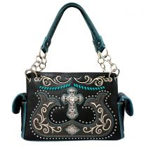 G939W191LCR CONCEALED CARRY WESTERN CROSS EMBROIDERY SATCHEL BLACK