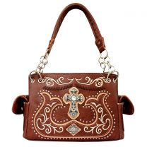 G939W191LCR CONCEALED CARRY WESTERN CROSS EMBROIDERY SATCHEL BROWN