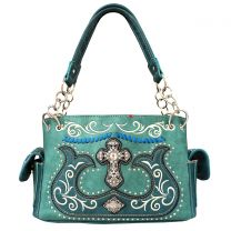 G939W191LCR CONCEALED CARRY WESTERN CROSS EMBROIDERY SATCHEL TURQUOISE