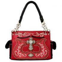 G939W191LCR CONCEALED CARRY WESTERN CROSS EMBROIDERY SATCHEL WINE