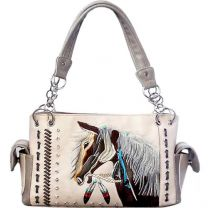 G939W193 CONCEALED CARRY WESTERN HORSE EMBROIDERY SATCHEL BEIGE