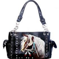 G939W193 CONCEALED CARRY WESTERN HORSE EMBROIDERY SATCHEL BLACK