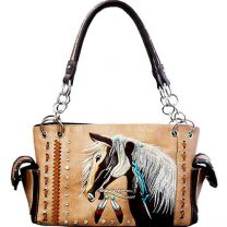 G939W193 CONCEALED CARRY WESTERN HORSE EMBROIDERY SATCHEL TAN