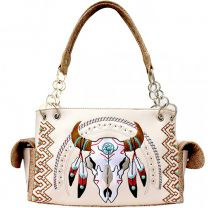 G939W208 CONCEALED CARRY WESTERN SOUTHWEST STEER SKULL EMBROIDERED COLLECTION SATCHEL~BEIGE