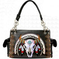 G939W208 CONCEALED CARRY WESTERN SOUTHWEST STEER SKULL EMBROIDERED COLLECTION SATCHEL~BLACK