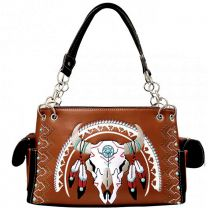 G939W208 CONCEALED CARRY WESTERN SOUTHWEST STEER SKULL EMBROIDERED COLLECTION SATCHEL~BROWN