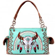 G939W208 CONCEALED CARRY WESTERN SOUTHWEST STEER SKULL EMBROIDERED COLLECTION SATCHEL~MINT