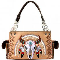 G939W208 CONCEALED CARRY WESTERN SOUTHWEST STEER SKULL EMBROIDERED COLLECTION SATCHEL~TAN