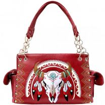 G939W208 CONCEALED CARRY WESTERN SOUTHWEST STEER SKULL EMBROIDERED COLLECTION SATCHEL~WINE
